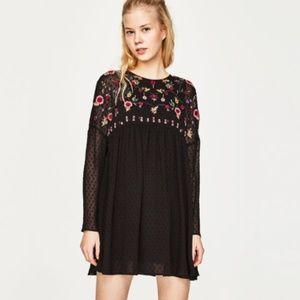 ZARA Black Floral Semi Sheer Mini Dress